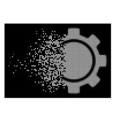 White disappearing pixel halftone gear icon vector