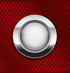 White glass button on red metal perforated vector