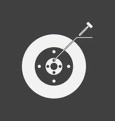 White icon on black background wheel and screw vector