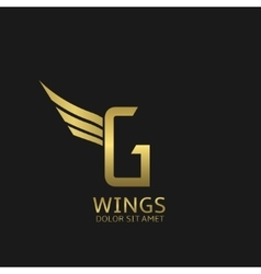 Wings G letter logo vector