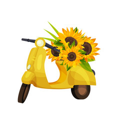 Yellow retro moped with sunflower colors on the vector