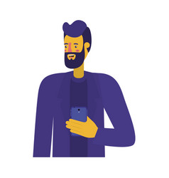 young man with beard and smartphone vector image