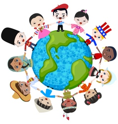 earth multicultural children vector image vector image