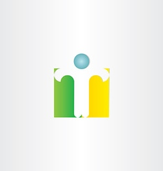 letter t man standing icon vector image vector image
