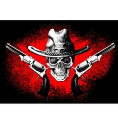 skull with revolver vector image vector image