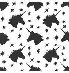 black unicorn silhouette with stars seamless vector image