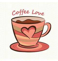 Coffee mug with heart shape vector image vector image