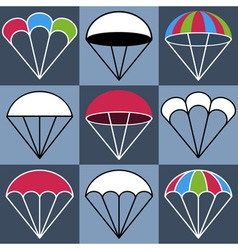 Colored Parachute Icons Set vector image vector image