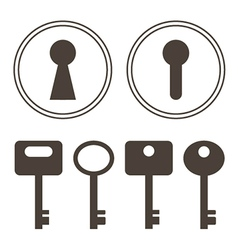 Keys and keyhole silhouettes set vector
