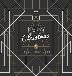 Merry christmas happy new year tree art deco line vector image vector image