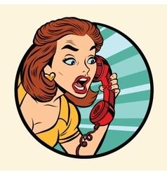 Comic woman talking on retro phone vector image