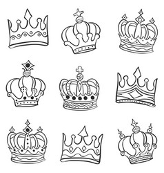 crown various style doodle set vector image
