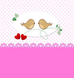 Greeting card with birds and hearts vector image