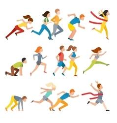 Young couple group running marathon run man vector image