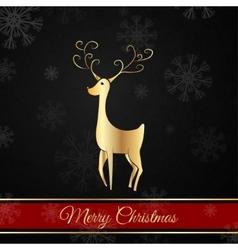 Black Christmas postcard whit christmas deer vector image vector image
