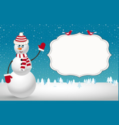 Christmas card with fir trees snowman and space vector