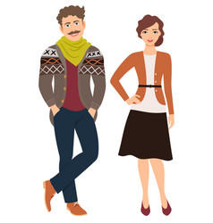 fashion couple in casual clothes vector image vector image