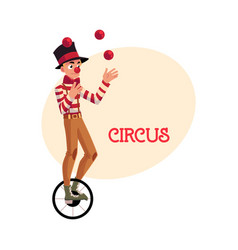 funny clown juggling balls while riding unicycle vector image vector image