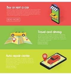 Set Car banners Buy online auto rental service vector image vector image