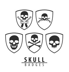 skull emblem on white background vector image vector image