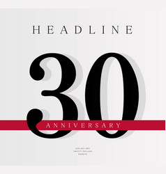 30th anniversary banner template journal cover vector