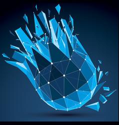 3d digital wireframe spherical object broken into vector