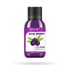 acai berries oil in glass jar packaging vector image