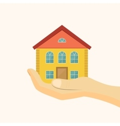 Affordable housing icon House in hand vector image