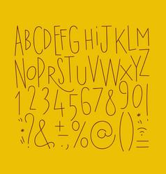 alphabet straight lines font mustard vector image