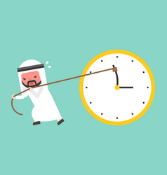 Arab businessman try hard to pull back minute vector