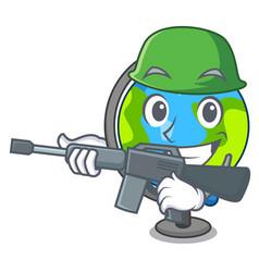 army globe character cartoon style vector image