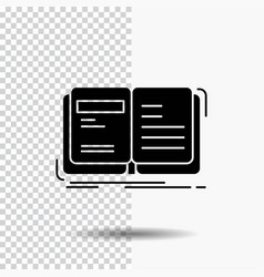 Author book open story storytelling glyph icon on vector