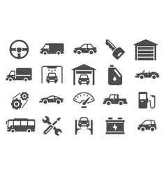 auto icons vehicle silhouettes and servicing vector image