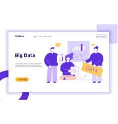 big data web page banner concept design vector image