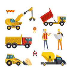 big set construction equipment machinery vector image