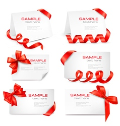 big set of red gift bows and ribbons vector image