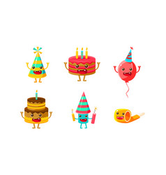 birthday party objects cartoon characters set vector image
