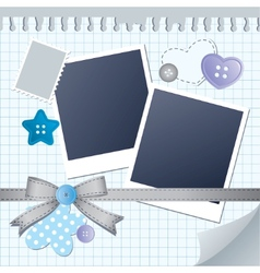 Blue frame for photos vector
