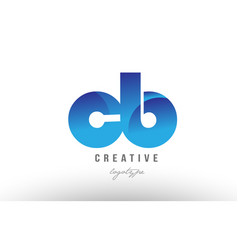 Blue gradient cb c b alphabet letter logo vector