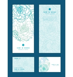 Blue line art flowers vertical frame pattern vector