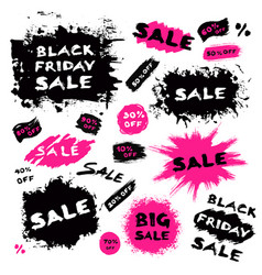 Brush stroke banners black friday sale vector
