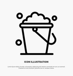 Bucket cleaning floor home line icon vector