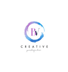 Bv letter logo circular purple splash brush vector
