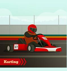 Cart race flat background vector