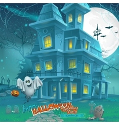 Cartoon night a mysterious haunted house in the vector