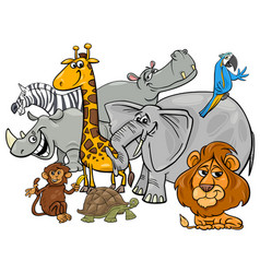 Cartoon safari animal characters group vector