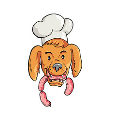 Chef dog biting sausage string cartoon color vector