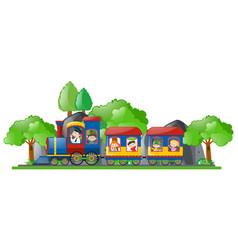children riding on train vector image