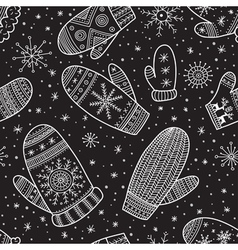 christmas boho mittens seamless pattern black vector image