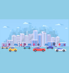 cityscape with large modern buildings city vector image